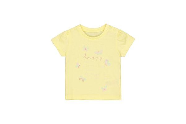 Girls Half Sleeves T-Shirt Text Print - Yellow
