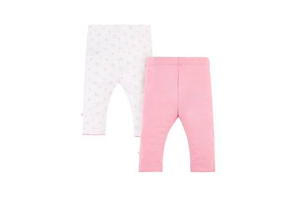 Girls Floral And Pink Leggings - Pack Of 2 - Floral & Pink