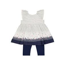 Stripe Floral Dress And Navy Leggings Set