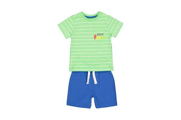 Fun Green Stripe T-Shirt And Blue Shorts Set