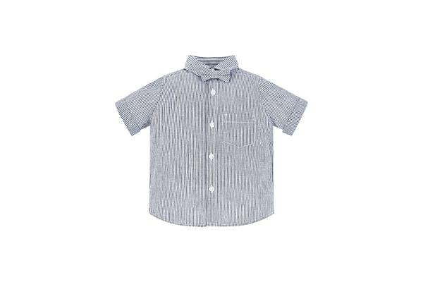 Blue Stripe Shirt And Bow Set