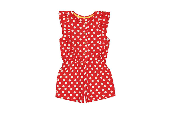 Girls Sleeveless Polka Dot Playsuit - Red