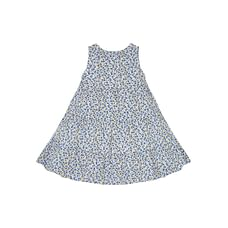 Girls Sleeveless Floral Print Tiered Dress - Blue
