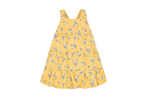 Girls Sleeveless Floral Print Tiered Dress - Yellow