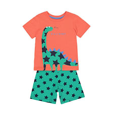 Boys Half Sleeves Shorts Set Dinosaur And Star Print - Orange