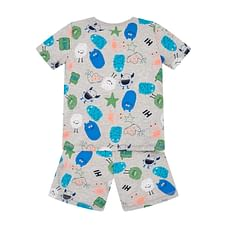 Boys Shorts Set Monster Print - Grey