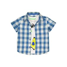 Blue Checked Shirt And Monster T-Shirt Set