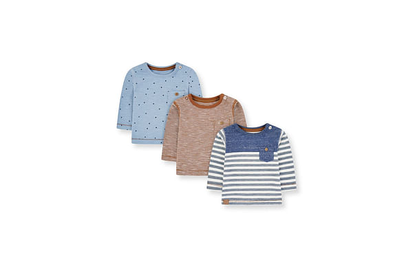 Blue Stripe, Paws And Brown T-Shirts - 3 Pack