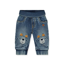 Boys Denim Joggers Bear Patch And Embroidery - Blue
