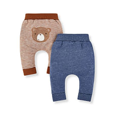 Boys Joggers Bear Print And Embroidery - Pack Of 2 - Brown Navy