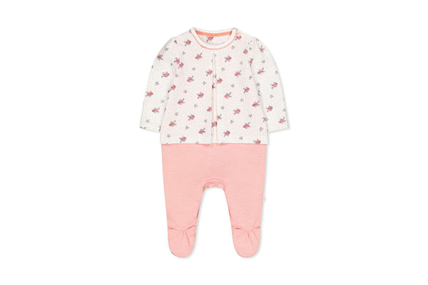 Pink Ditsy Floral Mock T-Shirt All In One