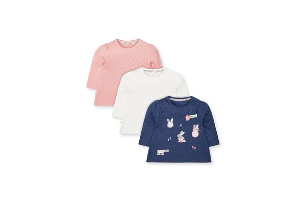 Blue Bunny, Pointelle Pink And White T-Shirts - 3 Pack