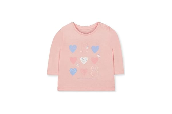 Girls Full Sleeves Heart Print T-Shirt - Pink