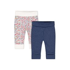 Girls Joggers Floral And Polka Dot Print - Pack Of 2 - White Navy