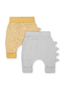 Boys Joggers Printed With 3D Dino Spikes - Pack Of 2 - Yellow Grey