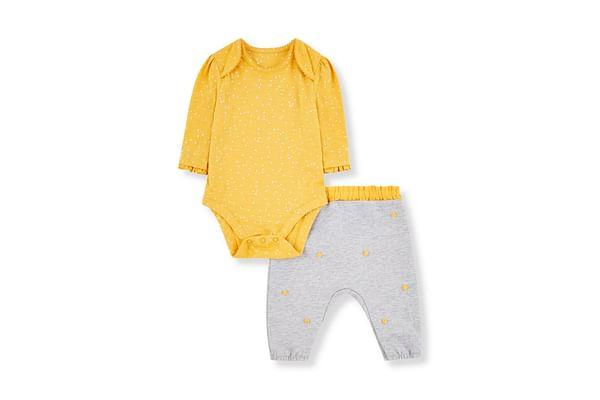 Yellow Bodysuit And Grey Pom Pom Trousers Set