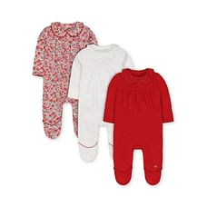 Red, White Spot And Floral Collared Sleepsuits - 3 Pack
