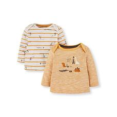 Yellow Stripe And Dinosaur T-Shirts - 2 Pack