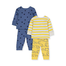 Boys Full Sleeves Pyjamas Elephant And Text Print - Pack Of 2 - Navy Yellow