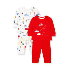 Boys Full Sleeves Pyjamas Fire Engine Print - Pack Of 2 - Red White