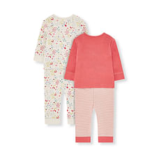 Girls Full Sleeves Pyjamas Floral And Text Print - Pack Of 2 - Pink Cream