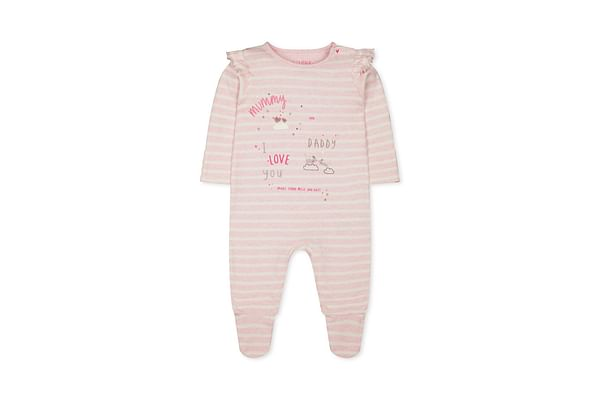Girls Full Sleeves Sleepsuit Stripe And Glitter Text Print - Pink