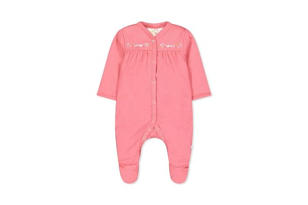 Girls Full Sleeves Snowsuit Bird Print - Pink
