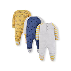 Boys Full Sleeves Sleepsuit Elephant And Star Print - Pack Of 3 - Blue Grey Yellow
