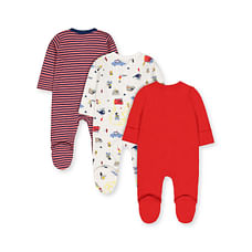 Boys Full Sleeves Sleepsuit Vehicle Print And Stripe - Pack Of 3 - Red White Navy