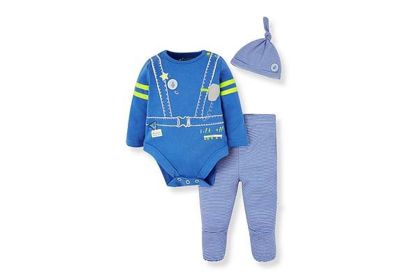 Boys Full Sleeves 3 Piece Set Space Print - Blue