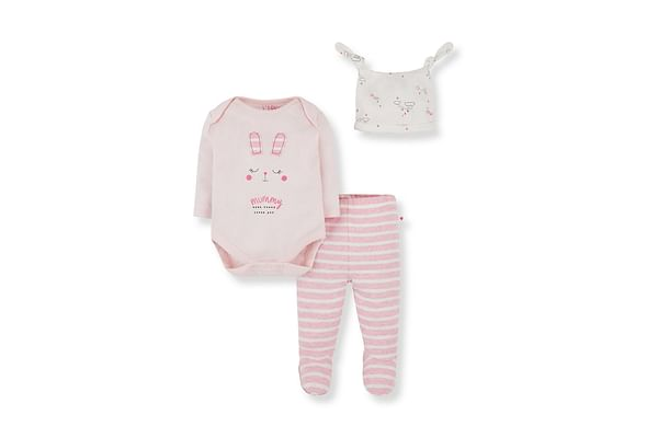 Girls Full Sleeves 3 Piece Set Glitter Text Print And Patch - Pink