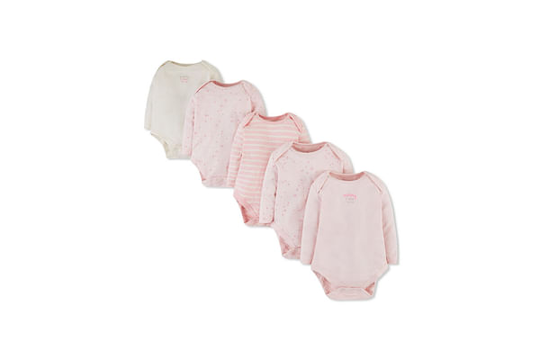 Girls Full Sleeves Bodysuit Stripe And Text Print - Pack Of 5 - Pink