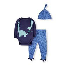 Boys Full Sleeves 3 Piece Set Dinosaur Print - Navy Blue