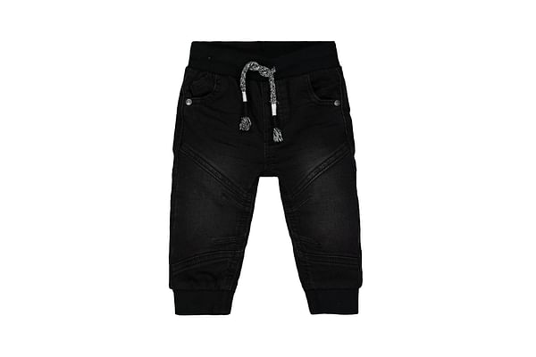Boys Jogger Washed With Ribwaist Jeans - Black