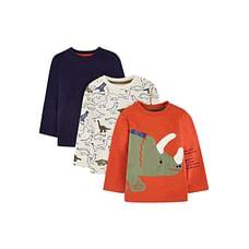 Boys Full Sleeves T-Shirt Dino Print - Pack Of 3 - Orange White Blue