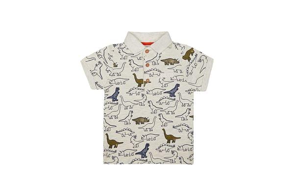 Grey Dinosaur Polo T-Shirt