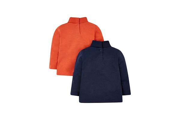 Navy Dinosaur And Orange Roll-Neck Jumpers - 2 Pack