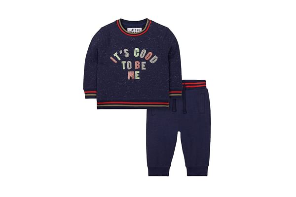Navy Sequin Good To Be Me Sweat Top And Joggers Set