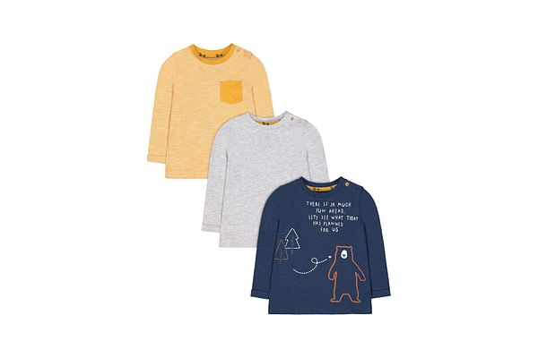 Navy Bear, Yellow And Grey T-Shirts - 3 Pack