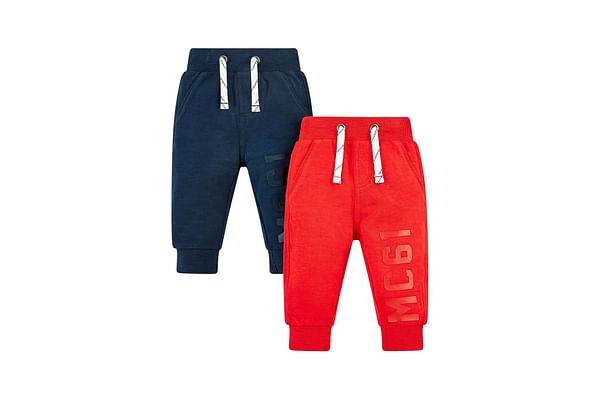 Boys Joggers Typography Print - Pack Of 2 - Red Navy