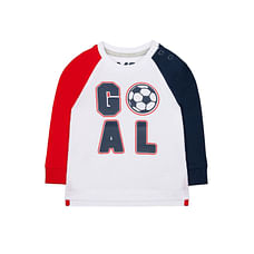 Boys Full Sleeves T-Shirt Football Text Print - White