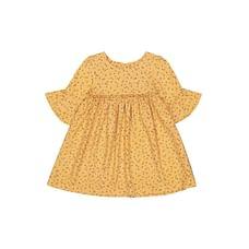 Mustard Floral, Flute-Sleeve Dress