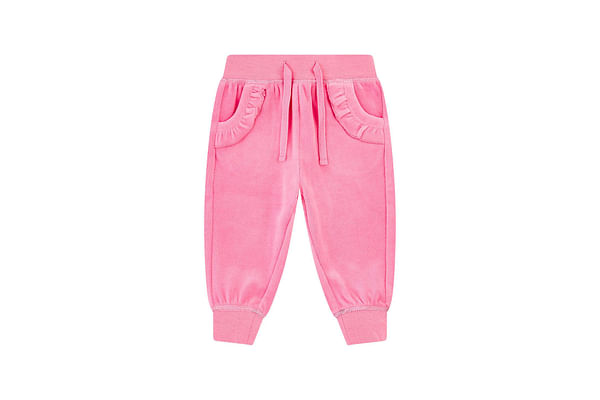 Pink Velour Frill Joggers