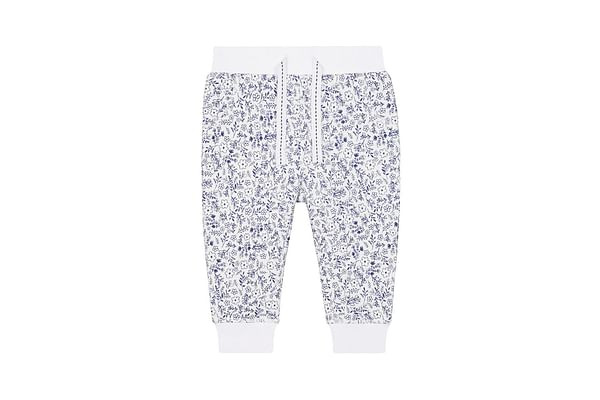 White And Blue Ditsy Floral Joggers