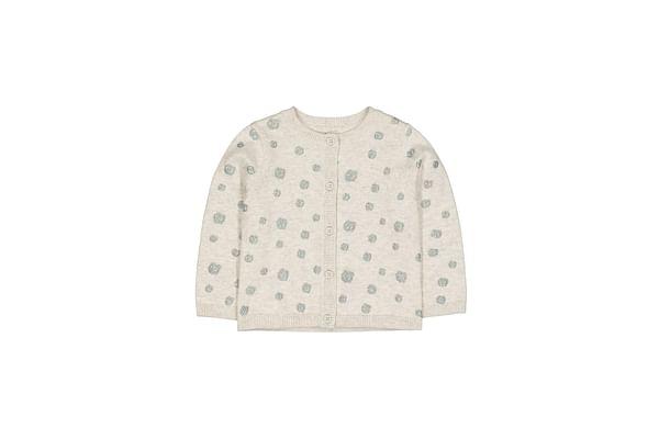 Grey Glitter Pinspot Knit Cardigan