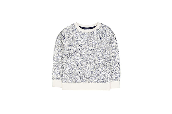 White And Blue Ditsy Floral Sweat Top
