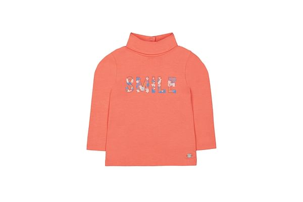 Coral Smile Roll-Neck Jumper
