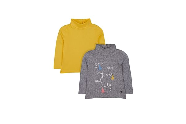 Grey One And Only And Mustard Rib Roll-Neck Jumpers - 2 Pack