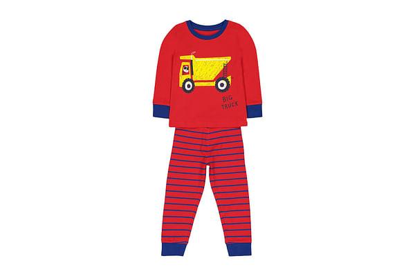 Boys Pyjamas Truck Print And Stripe - Red