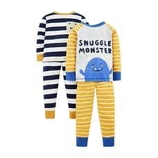Boys Full Sleeves Pyjamas Snuggle Monster Print - Pack Of 2 - Yellow Black
